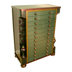 Contessa Jewelry and Accessory Armoire - The Contessa Accessory and Jewelry Armoire is the glam way to store and organize fashion jewelry and accessories. The 12 drawer cabinet is designed to store jewelry, scarves, evening bags, etc. Each drawer has a velvet liner with divided compartments in various sizes.