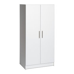"Prepac - Prepac Elite 32 Wardrobe Cabinet - The Elite 32"" Wardrobe Cabinet is welcome in any part of the house, either as a stand-alone product or when combined with other pieces in the Elite Collection. The hanging rail is ideal for storing jackets, coats and other hanger-friendly clothing, while the fixed top shelf suits hats, scarves and other small items. Increase storage space by adding the optional Elite 32"" Stackable Wall Cabinet on top for a total of 89 vertical inches of storage."