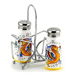 Artistica - Hand Made in Italy - Raffaellesco: Salt and Pepper Shaker Set with Stainless Steel Top - Metal parts made in the USA - Ceramic parts hand painted and imported from Deruta-Italy.
