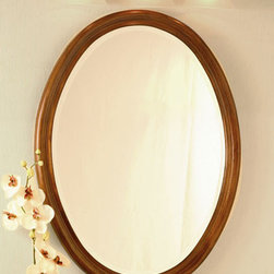 """Wellington Cherry Oak Oval Mirror - 25"""" W x 33"""" H - With a beveled glass edge, this mirror has a hardwood frame and is the perfect companion piece to the Wellington vanity set."""