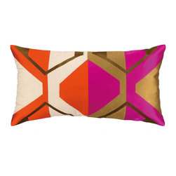 """Trina Turk - Trina Turk La Playa Embroidered Pillow - Angular lines and rich linen form the Trina Turk La Playa throw pillow. This luxe accessory's visually stunning embroidery and vibrant colors entice in mod interiors. 26""""W x 14""""H; 100% linen; Red, natural, black, gold and purple; Includes feather down insert; Hidden zipper closure; Dry clean only"""