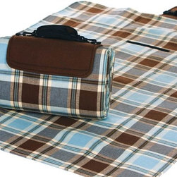 "Picnic Plus - Large Mega Mat, Mocha Blues - Large Mega Mat 100% Waterproof Backing All Season Picnic Blanket, Beach Mat And More, Mocha Blues. Color/Design: Mocha Blues; 100% fully waterproof backing; Foam padded lining; Soft woven breathable acrylic top; Adjustable shoulder strap for easy carrying; Extremely portable; Folds easily for travel and storage; Commercial machine washable; Opens to a full 68"" x 82"" and can seat 4-6 persons plus gear. Dimensions: 68"" x 82"" open"