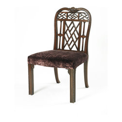 English Georgian America - Chinese Chippendale Dining Chairs - A Chinese Chippendale design lattice back, column carved and squared leg dining chair.