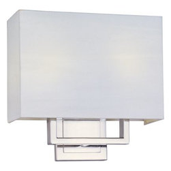 ET2 lighting - ET2 Lighting E21091-01SN Edinburgh I 2-Light Wall Sconce in Satin Nickel - The art of geometry finds a perfect outlet in Edinburgh's bold sconces. Sharp angles finished in satiny nickel support simply shaped linen shades for a smart minimalist look. Energy-saving fluorescent light glows warmly from within adding heart and soul to the angular structure.