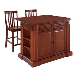 Crosley Furniture - Breakfast Bar Top Kitchen Island with School - Includes two stools. Drop leaf for additional space or dining. Sculpted edges on each end of top. Open storage with adjustable shelves on each end. Antique brass finish hardware. Gorgeous diamond accents and fluted pilasters. Two adjustable shelves behind doors. Warranty: 90 days. Made from solid hardwood and wood veneers. Cherry finish. Made in Vietnam. Stool height: 24 in.. Min: 48 in. W x 23 in. D x 36 in. H (221 lbs.). Max: 48 in. W x 35 in. D x 36 in. H (221 lbs.). Assembly instructions - Drop leaf Kitchen Island. Assembly instructions - StoolThis kitchen island is designed for longevity. The handsome raised panel doors and drawer fronts provide the ultimate in style to dress up any culinary space. Raise the drop leaf to expand your serving space, or just sit at the breakfast bar and eat your meal. Open storage on both ends provides easy access to frequently used items, and is perfect for displaying decorative objects. Style, function, and quality make this kitchen island a wise addition to your home.