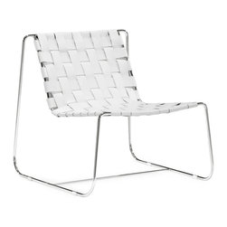"Tosh Furniture - Duluth Lounge Chair White - Submerge yourself in a supple braided leather seat. The Prospect lounge chair is made from 100% recycled leather braided onto a chrome base. White; Leather; Chromed Steel Finish; No assembly required; Overall dimensions: 28.5""W x 30""L x 28.5""H; Seat Height: 15.5""; Seat Depth: 19""; Seat Width: 22"""