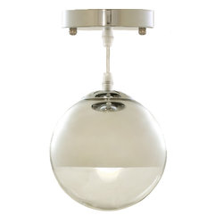 Warehouse of Tiffanys - Warehouse of Tiffany's Sechelt Pendant Light - This Warehouse of Tiffany's Sechelt Pendant Light brings in a classic design with a modern touch. The orb-like pendant has a shiny chrome fixture finish.