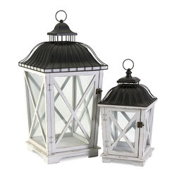 """IMAX CORPORATION - Newman Lanterns - Set of 2 - The Newman lanterns feature unique framed dome tops in a smooth black finish with classic Adirondack inspired window frames. Holds pillar candles. Set of 2 in various sizes measuring around 30.5""""L x 14.75""""W x 14.75""""H each. Shop home furnishings, decor, and accessories from Posh Urban Furnishings. Beautiful, stylish furniture and decor that will brighten your home instantly. Shop modern, traditional, vintage, and world designs."""