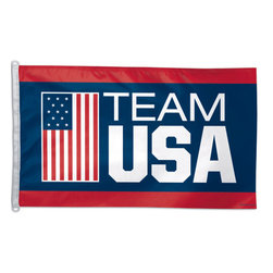 Flagline - US Olympic Team - 3'X5' Polyester Flag - Our Officially licensed US Olympic Team Flags are all 3' x 5', colorfully printed on 100% polyester. Each flag uses D rings at the end to attach to a flag pole.