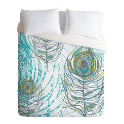 DENY Designs - Rachael Taylor Peacock Feathers Duvet Cover - Turn your basic, boring down comforter into the super stylish focal point of your bedroom. Our Luxe Duvet is made from a heavy-weight luxurious woven polyester with a 50% cotton/50% polyester cream bottom. It also includes a hidden zipper with interior corner ties to secure your comforter. it's comfy, fade-resistant, and custom printed for each and every customer.