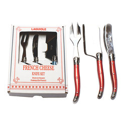 Laguiole French Cheese Knife Set- Red - Bright and attention-getting yet ultimately sophisticated, the Laguiole French Cheese Knife Set in Red exhibits the handsome, classic details of French-crafted traditional cutlery, complete with the hammered bee symbol adorning the handles which denotes laguiole cutlery.  A cheerful coat of true red on the handles contrasts beautifully with the silver of the steel.
