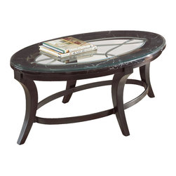 """Steve Silver Company - Steve Silver Company Cayman Marble with Glass Cocktail Table in Antiqued Brown - Steve Silver Company - Coffee Tables - CY300C - With dramatic curves and luxurious details the Cayman Collection adds dynamic flair to any room. The Cayman cocktail table stands 19"""" high with a 48"""" x 28"""" oval top of faux marble and 8mm beveled glass.  The decorative curved metal detail base is finished in a deep antiqued brown. This impressive piece complements the Cayman sofa and end table."""