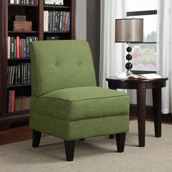 PORTFOLIO - Portfolio Engle Apple Green  Linen Armless Chair - Show off your design style with this chic armless chair from Portfolio Engle. The button-tufted back and tapered legs give this chair a slightly retro look,while the apple-green linen upholstery will add a splash of color to any room.