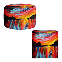 DiaNoche Designs - Ottoman Foot Stool by Aja-Ann - Red Sky at Night - Lightweight, artistic, bean bag style Ottomans. You now have a unique place to rest your legs or tush after a long day, on this firm, artistic furtniture!  Artist print on all sides. Dye Sublimation printing adheres the ink to the material for long life and durability.  Machine Washable on cold.  Product may vary slightly from image.