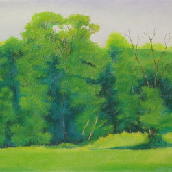 """Green Trees in Hammer Field"" Artwork - Green Trees in Hammer Field, unframed pastel on white Canson Mi-Teintes paper with an approximate image size of 19_ x 25. Shipped flat."