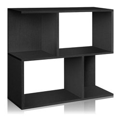 Way Basics - Way Basics Soho Bookcase and Shelf, Black - This shelf system puts the fun back in functional. Use it for storage or display, as a bookcase, bar or room divider. Made from recycled paper, it fits together with adhesive strips, so no tools are required. Plus it's free of formaldehyde and VOCs, making it the perfect green solution for your organizational needs.
