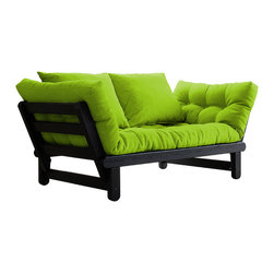 Fresh Futon - Beat Convertible Futon Sofa/Bed, Black Frame, Lime Mattress - Just listen to the Beat, it will have you comfortably relaxed with two pillows onits durable Nordic Pine frame in one of its three positions, loveseat sofa, mattress, or chaise lounge/daybed. Available in white, black, and natural frames with 9 twill fabric color options.