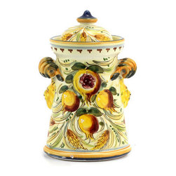 Artistica - Hand Made in Italy - Majolica Melograno: Medieval Conic Canister with Scrolled Handles (Lg) - Majolica Melograno: