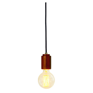 "Modkom Interior Decor - El Chico Lamp, 8' Cable, 3"" Bulb - Elegant Chico Zapote lamp. Finely turned exotic wood with navy blue fabric wire. Subtle as a single lamp or playful as a cluster with different filament bulbs."