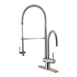 VIGO Industries - VIGO Stainless Steel Pull-Down Spray Kitchen Faucet with Deck Plate - This stylish and durable faucet is sure to give your kitchen sink a new look