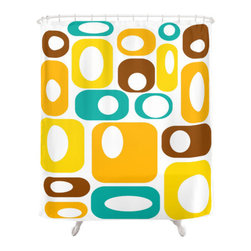 Crash Pad Designs - Shower Curtain by Crash Pad Designs - The fun doesn't have to stop at the bathroom door. Our mid century modern shower curtain will make your bathroom smile.
