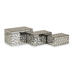 iMax - iMax Foley Mirror Mosaic Boxes - Set of 3 X-3-4891 - For a contemporary, sleek small storage solution, the Foley Mirror Mosaic Boxes are the perfect choice. Set of 3.