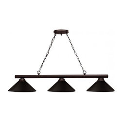 Three Light Bronze Bronze Shade Island Light - Classic and simple detailing defines this beautiful three light fixture. Finished in bronze and paired with metal bronze shades, this three light fixture would be at home in the game room. 72 inches of chain per side are included to ensure the perfect hanging height.