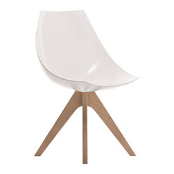 Pianca - Gamma Hard Polyurethane Modern Side Chair - Made in Italy and shapely enough to be featured in a design museum, this mod polyurethane chair with blonde wooden legs has a subtle simplicity and a '60s feel. Zip up your white go-go boots and get yourself a set of these 'gamma' chairs to surround your favorite table.