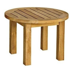 "Canterbury Teak Low 20"" Round Side Table - The Canterbury low round side table is"