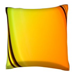 Custom Photo Factory - Abstract Bands of Color Pillow.  Polyester Velour Throw Pillow - Abstract Bands of Color Pillow. 18 Inches x 18  Inches.  Made in Los Angeles, CA, Set includes: One (1) pillow. Pattern: Full color dye sublimation art print. Cover closure: Concealed zipper. Cover materials: 100-percent polyester velour. Fill materials: Non-allergenic 100-percent polyester. Pillow shape: Square. Dimensions: 18.45 inches wide x 18.45 inches long. Care instructions: Machine washable