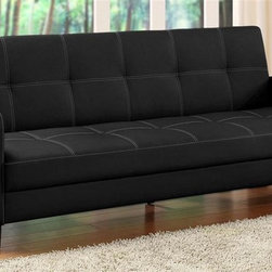 Dorel Home Products - Delaney Sofa Sleeper w Arms - Click clack technology. Sophisticated design. Beautiful contrast stitching. Easy to maintain. Rich faux leather upholstery. Converts quickly from sofa to full size bed. Warranty: One year. Weight capacity: 600 lbs.. Sofa: 78 in. L x 34 in. W x 31 in. H (88 lbs.). Bed: 78 in. L x 43 in. W x 14.5 in. H. Assembly Instructions
