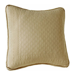 Historic Charleston Collection - King Charles Matelasse Birch 18-Inch Square Decorative Pillow-Only - - Steeped in Historic Charleston?s rich, classic style and decorative arts culture, the King Charles 100% cotton matelass� bedding collection offers a unique blend of European, Caribbean, and Asian influences.   - King Charles matelass� bedding offers a luxuriously soft bedspread, coverlet, bed skirt, shams and decorative accent pillows featuring classic 19th century motifs representing the sun, a topiary, a pheasant, and a pineapple.   - The superior design of the King Charles matelass� bedding ensemble can be traced back to England circa 1820, incorporating key influences from that time period including the fine arts and superior craftsmanship.   - Each piece is crafted individually on special weaving looms to create the luxurious design that defines this lovely matelass� bedding collection.   - Highs and lows created during the jacquard weaving process allow the intricate designs and motifs to come to life.   - Designs from the archives of Historic Charleston?s heritage, were interpreted to create the lovely King Charles bedding set.   - Rolling arches, half-moons, double diamonds and scrolling vine details wrap around the classic topiary, pheasant, sun and pineapple motifs.   - Coverlet and bedspread drape beautifully over the bed to reveal rounded corners.   - Pair the bedspread or coverlet with bed skirt to create a complete look.   - Add coordinating, decorative shams and pillows to create the ultimate bedroom oasis.   - The heavy-weight, stonewashed matelass� of King Charles bedding ensures life-long durability and style for generations to come.   - Crafted in Portugal.   - Stone-washed.   - 100% cotton matelass�.   - The Historic Charleston Foundation was established in 1947 and is a nonprofit organization whose mission is to preserve and protect the historical, architectural and material culture that make up Charleston?s rich and irreplaceable heritage.   