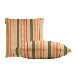 "Cushion Source - Sunbrella Solano Fiesta Throw Pillow Set - The Sunbrella Solano Fiesta Outdoor Throw Pillow Set consists of two 18"" x 18"" dupioni throw pillows featuring stripes of raspberry, mustard, orange, brown, and chartreuse on a beige background."