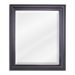 "Hardware Resources - Elements Bathroom Mirror - Black Douglas Mirror by Bath Elements. 20"" x 24"" black mirror with beveled glass. Corresponds with VAN057 and VAN063"