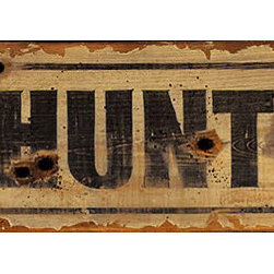 Red Horse Signs - Nostalgic Vintage No Hunting Signs Bullet Hole Sign - Nostalgic  Vintage  No  Hunting  Signs  -  Bullet  Hole  Sign    Post  our  nostalgic  vintage  No  Hunting  sign  where  everyone  can  get  a  good  chuckle.  Complete  with  painted  bullet  holes,  this  one  looks  like  you  just  brought  it  in  from  the  ranch.  Sign  measures  7x30,  and  includes  a  keyhole  hanger  so  displaying  it  is  as  simple  as  driving  a  nail.  The  perfect  gift  for  the  hunter,  or  an  acquaintance  who  loves  his  office  walls  full  of  stuffed  taxidermy  trophies.  This  humorous  sign  will  bring  a  few  giggles  when  it  is  opened  at  your  next  holiday  get-together.  Please  allow  up  to  three  weeks  for  delivery  of  vintage  signs.    Product  Specifications:        Rustic  Lodge  Style    Finished  size:  7x30    Printed  directly  to  distressed  wood