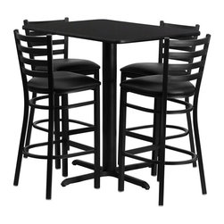 "Flash Furniture - Black Table Set with 4 Ladder Back Metal Bar Stools - Black Vinyl Seat - No need to buy in pieces, this complete Bar Height Table and Stool set will save you time and money! This set includes an elegant Black Laminate Table Top, X-Base and 4 Metal Ladder Back Bar Stools. Use this setup in Bars, Banquet Halls, Restaurants, Break Room/Cafeteria Settings or any other social gathering. Mix in Bar Height Tables with standard height tables for a more varied seating selection. This Commercial Grade Table Set will last for years to come with its heavy duty construction. Rectangular Table and Metal Restaurant Bar Stool Set; Set Includes 4 Bar Stools, Rectangle Table Top and X-Base; Metal Restaurant Bar Stool; Ladder Style Back; Black Vinyl Upholstered Seat; 2.5"" Thick 1.4 Density Foam Padded Seat; CA117 Fire Retardant Foam; 18 Gauge Steel Frame; Welded Joint Assembly; Two Curved Support Bars; Foot Rest Rung; Black Powder Coated Frame Finish; Plastic Floor Glides; Lightweight Design; Designed for Commercial Use; Suitable for Home Use; Overall Size: 17""W x 18""D x 42.25""H; Seat Size: 16.75""W x 16.5""D x 31""H; Back Size: 15""W x 12""H; Restaurant/Banquet Table Top; 1.125"" Thick Rectangular Top; Overall dimensions: 24""W x 42""D x 42""H"