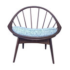 """Pre-owned Danish Modern Hoop Chair by Kofod-Larsen for Selig - Designed by Ib Kofod-Larsen in the 1950's for Selig in Denmark.  This is such a beautiful chair with great lines and presence.    A true statement piece.  New webbing and seat cushion created with Hable Construction 'Shells' in navy linen fabric.  Fabric strap with velco closure runs under the webbing to secure cushion.  Seat with cushion sits at 19"""".   Frame is solid and sturdy."""