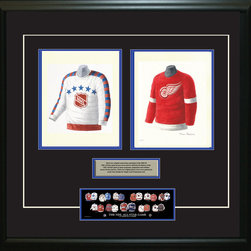 """Heritage Sports Art - Original art of the NHL 1955-56 NHL All-Star jersey - This beautifully framed piece features two pieces of original, one-of-a-kind artwork. Both images are glass-framed in an attractive two inch wide black resin frame with a double mat. The outer dimensions of the framed piece are approximately 28"""" wide x 24.5"""" high, although the exact size will vary according to the size of the original art. At the core of the framed piece is the actual piece of original artwork as painted by the artist on textured 100% rag, water-marked watercolor paper. In many cases the original artwork has handwritten notes in pencil from the artist. Simply put, this is beautiful, one-of-a-kind artwork. The outer mat is a rich textured black acid-free mat with a decorative inset white v-groove, while the inner mat is a complimentary colored acid-free mat reflecting one of the team's primary colors. The image of this framed piece shows the mat color that we use (Medium Blue). Beneath the artwork is a silver plate with black text describing the original artwork. The text for this piece will read: This is an original watercolor painting of the 1955-56 NHL All-Star jersey and a reproduction of the 1955-56 Detroit Red Wings jersey. These jersey images have been, and continue to be, used to celebrate the history of the NHL All-Star game in posters like the one shown below as well as game programs, magazines and websites across North America. Beneath the silver plate is a 3"""" x 9"""" reproduction of a well known, best-selling print that celebrates the history of the team. The print beautifully illustrates the chronological evolution of the team's uniform and shows you how the original art was used in the creation of this print. If you look closely, you will see that the print features the actual artwork being offered for sale. The piece is framed with an extremely high quality framing glass. We have used this glass style for many years with excellent results. We package every piece v"""