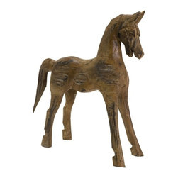 IMAX CORPORATION - Albazia Wood Carved Horse - Folk Art inspired carved wood horse figure. Find home furnishings, decor, and accessories from Posh Urban Furnishings. Beautiful, stylish furniture and decor that will brighten your home instantly. Shop modern, traditional, vintage, and world designs.