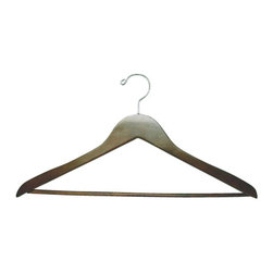 Proman - Genesis Flat Suit Hanger with Wooden Bar, Light Walnut - Genesis flat suit hanger with wooden bar, light walnut, chrome,50 pcs/case. Flat suit hanger. W / wooden bar.