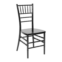 """PRE Sales - Chiavari Chair in Black - Set of 4 - Set of 4 Includes 4 chairs. Built with durable low maintenance resin. Never needs touch up paint. Chairs are furnished KD. Stronger than wood chairs with higher load capacity. Stackable for easy transport and storage. Assembly required. 3 year limited warranty. 36 in. L x 16.5 in. W x 36 in. H (11 lbs)Chiavari chairs add elegance to your event. Black tie, ballroom parties seem to really be well suited for chiavari chairs. The name """"chiavari"""", comes from a little town in Italy. Old World, European style comes into play with these chairs. Originally made only of carved wooden spindles and solid wooden seats, PRE is proud to offer chiavari chairs built with durable, resin material. You never need to re-paint or touch up these chairs ! The resin color goes all the way through. We still offer the wooden chiavaris as well, but our resin chairs are lower-maintenance and stronger than the wooden ones."""