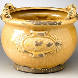 AA Importing - Leaf Design Planter in Yellow - Leaf design. Glazed finish. Pictured in Yellow. 11 in. Dia. x 9 in. H