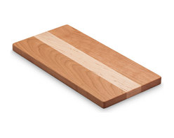 "Jewett Farms Co - Mixed Hardwood Cheese Board, Small, Cherry + Maple - Our 6""x12"" cherry + maple cheese boards are the perfect small platter for entertaining. The pairing of light and dark hardwoods makes a stylish and functional board that is perfect for cheese, fruit, crackers or chocolate. Each board is 0.625"" thick, light enough to carry easily while still sturdy enough to be loaded up and cut on. The boards are sanded to perfection and finished with food grade butcher block oil. Choose from Walnut + Maple or Cherry + Maple."