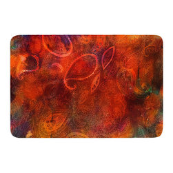 """KESS InHouse - Nikki Strange """"Tie Dye Paisley"""" Orange Red Memory Foam Bath Mat (24"""" x 36"""") - These super absorbent bath mats will add comfort and style to your bathroom. These memory foam mats will feel like you are in a spa every time you step out of the shower. Available in two sizes, 17"""" x 24"""" and 24"""" x 36"""", with a .5"""" thickness and non skid backing, these will fit every style of bathroom. Add comfort like never before in front of your vanity, sink, bathtub, shower or even laundry room. Machine wash cold, gentle cycle, tumble dry low or lay flat to dry. Printed on single side."""