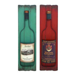 UMA - Favorite Vintage Wine Wood Plaques Set of 2 - Two bottles of wine with realistic looking labels are displayed on colorful wood plaque backdrops.