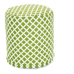 Majestic Home - Outdoor Sage Bamboo Small Pouf - Toss something versatile into your mix — indoors or out. This update on the beanbag functions as a footstool, side table or comfy seat, and with UV protection in the fabric, the cool bamboo pattern can really take the heat.