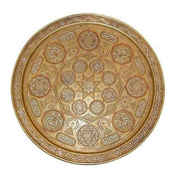 Pre-owned 19th C. Syrian Silver & Copper Inlaid Tray - This gorgeous round silver and copper inlaid tray is from Ottoman Syria. It has a raised rim, with overlaid decoration and a central rosette within an eight-point star, making for a magical and intricate aesthetic. There are also calligraphic cartouches within and around, each inscribed in Thuluth script, so clearly this bronze tray is packed with history and is very rare. Place it on an ottoman in the living room or use it as a serving tray.