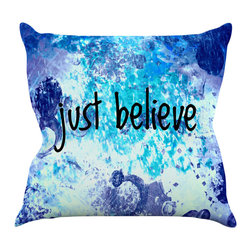 """Kess InHouse - Ebi Emporium """"Just Believe"""" Blue Purple Throw Pillow (20"""" x 20"""") - Rest among the art you love. Transform your hang out room into a hip gallery, that's also comfortable. With this pillow you can create an environment that reflects your unique style. It's amazing what a throw pillow can do to complete a room. (Kess InHouse is not responsible for pillow fighting that may occur as the result of creative stimulation)."""