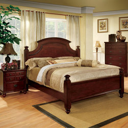 Furniture of America - Furniture of America European Style Cherry Four Poster Bed - This unique piece showcases a delightful twist on the usual four poster bed. The cherry finish accentuates the arched headboard and its cut-out design,while drawing attention the the elegantly carved posts.