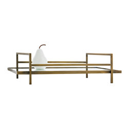 Kathy Kuo Home - Charles Hollywood Regency Antique Brass Rectangular Mirror Tray - Bauhaus era modernism is written all over this tray.  Elegant and utilitarian, the brass and mirror create a classic effect.  Perfect for deco, mid century, or any other style space where beautiful minimalism is celebrated.